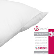 EZ Dreams Waterproof Pillow Protector: King Size, Allergen Barrier, Zippered