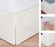 "Easy-to-Use Wraparound Bed skirt: Tailored, Split Corner Design, Non-Slip Band. 14"" Drop, Ivory Color"