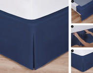 "Easy-to-Use Wraparound Bed skirt: Tailored, Split Corner Design, Non-Slip Band. 14"" Drop, Navy Color"