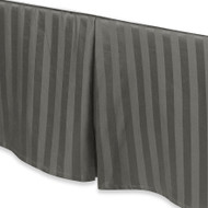 "Charcoal Gray Luxury Bed Skirt: 100% Egyptian Cotton, 500 Thread Count, 15"" Drop"