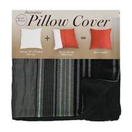 Decorative Pillow Case Cover: Square 18in x 18in, Zippered Closure, Black and Silver Strip Design