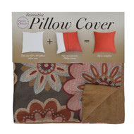 Decorative Pillow Case Cover: Square 18in x 18in, Zippered Closure, Embroidered Floral Design