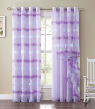 Purple and Pink Double-Layer Window Curtain Panel: Silver Grommets, Attached Backing, Wave Design