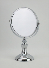 5.9 inch Diameter Chrome Plated Makeup/Vanity Mirror with Stand: 1x/2x Magnification