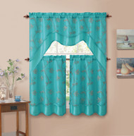 3 Piece Blue Double Layer Leaf Embroidered Kitchen Window Curtain Set with Valance
