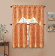 3 Piece Orange Double Layer Leaf Embroidered Kitchen Window Curtain Set with Valance