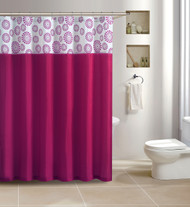 Pink Shower Curtain: Flocked, 72in x 72in, Circle Dot Design
