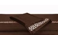 Queen Chocolate Brown Silky Soft Satin Bed Sheet Set: Taupe Embroidered Animal Mosaic Desgn