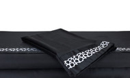 Queen Black Silky Soft Satin Bed Sheet Set: White Embroidered Animal Mosaic Desgn