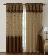 "Chocolate and Tan Two Piece Window Curtain Drapery Sheer Panel w/ Attached Backing and Valance 57""x90"" each"