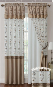 "Gold and Linen Two Piece Window Curtain Drapery Sheer Panel w/ Attached Backing and Valance 57""x90"" each"