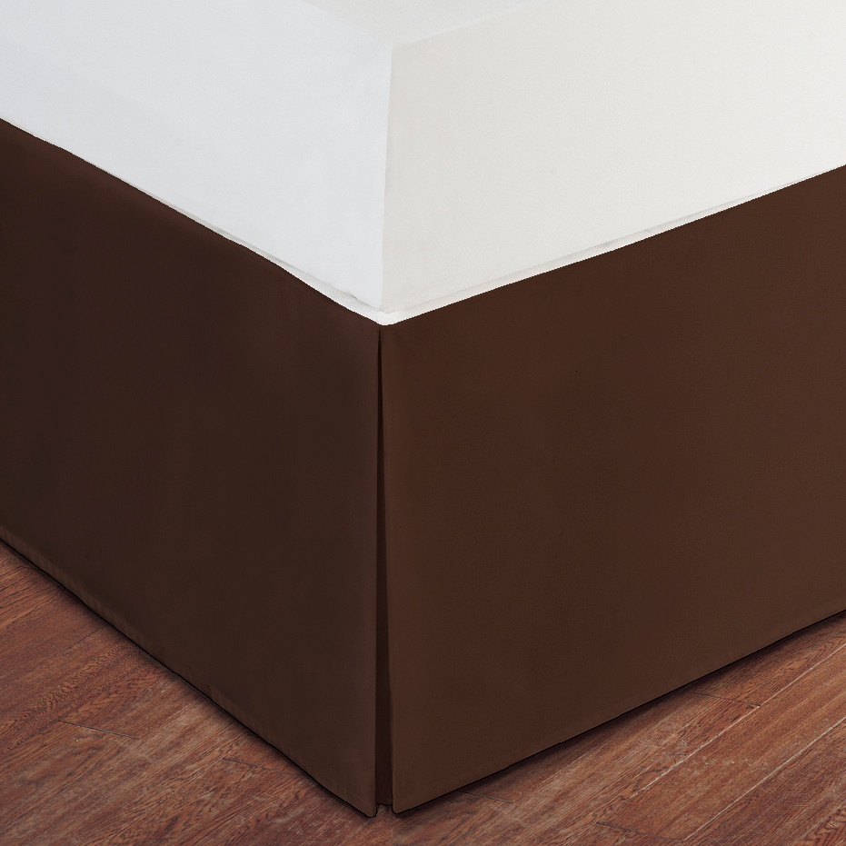 Chocolate Brown Luxury Hotel Bed Skirt Tailored Pleat 14 Drop