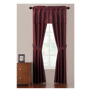 Burgundy Complete 5-Pc Window Curtain Set: Faux Silk, Rhinestone Valance and Tiebacks