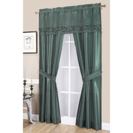 Blue Complete 5-Pc Window Curtain Set: Faux Silk, Scroll Vine Embroidery Valance