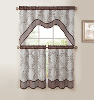 Chocolate Brown 3-Pc Kitchen Window Curtain Set: Two-Layer Sheer, Vine Embroidery