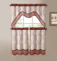 Cinnamon Beige 3-Pc Kitchen Window Curtain Set: Two-Layer Sheer, Vine Embroidery