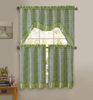 Sage Green 3-Pc Kitchen Window Curtain Set: Double-Layer, 2 Tiers, 1 Valance