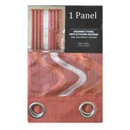 Cinnamon Sheer and Crushed Taffeta Double-Layer Window Panel Curtain with Swirl Design and Silver Grommets