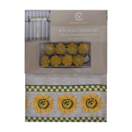 Linen Kitchen Window Curtain Set: Valance, Two Tier Panels, 8 Clips/Rings, Sunflower and Green Check Design