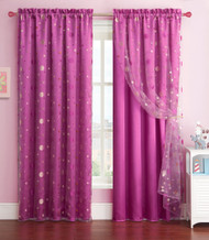 Purple Window Curtain Panel with Circle Design Sheer Top Layer: 55in x 90in