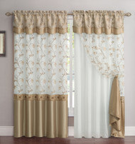 "All-in-One Gold and White Window Curtain Drapery Panel: Double-Layer, Solid Color Back with Embroidered Sheer Top and Valance, 55""x90"""