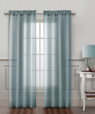 Blue Gray Sheer Window Curtain Panel: Check Design, 54in x 80in