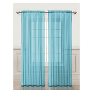 Blue Sheer Window Curtain Panel Set: Silky Chiffon, 55x84