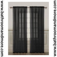 Black Sheer Window Curtain Panel 2 Piece Set: Silky Chiffon, 55x84