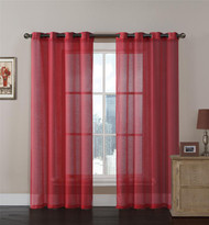 Red Sheer Textured Window Curtain Panel 2 Pc Set with Grommets