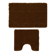 Brown Plush Bathmat 3 Piece Set: Contour Rug, Bath Mat, Toilet Seat Lid Cover