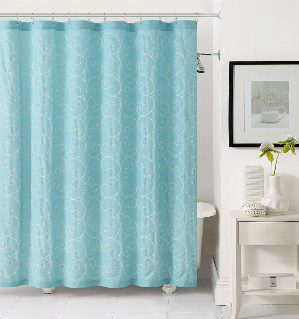 Light Aqua Blue Shower Curtain With White Swirl Embroidery