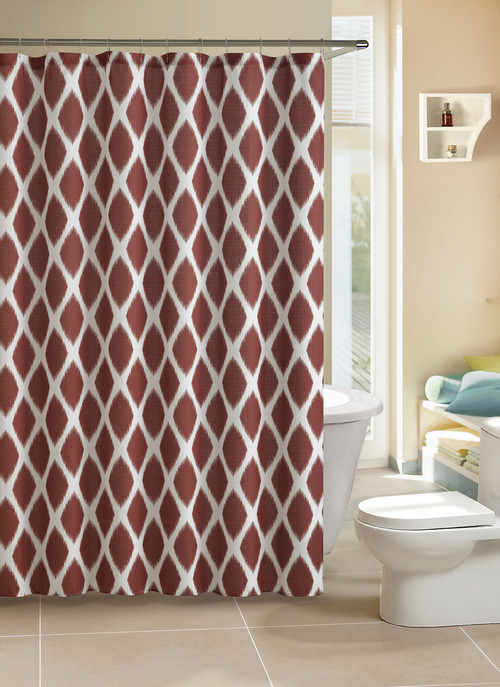 Faux Linen Fabric Shower Curtain Cinnamon Rust Ikat