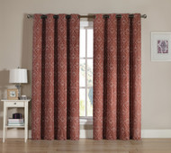 Cinnamon Rust Grommet Window Curtain 2 Pc Set: White Swirl Design Embroidery | bathroomandmore