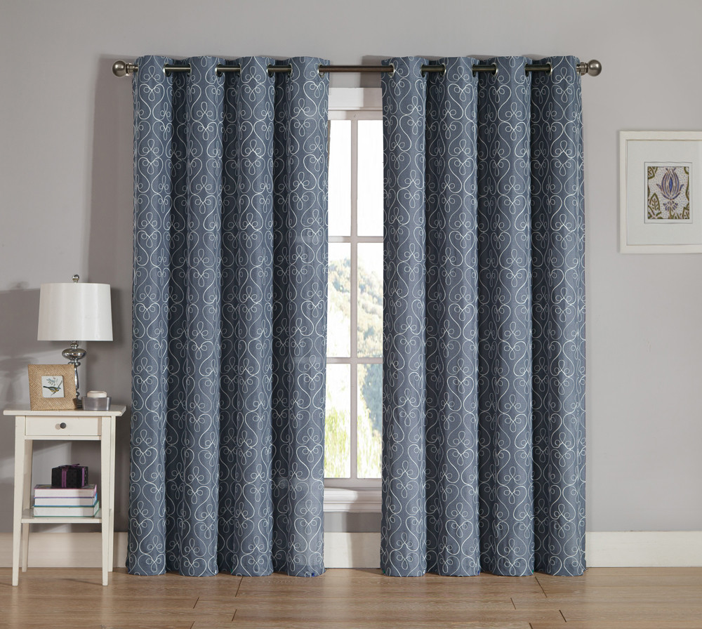 Slate Gray Grommet Window Curtain Panel 2 Pc Set White
