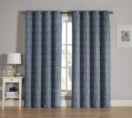 Slate Gray Grommet Window Curtain 2 Pc Set: White Swirl Design Embroidery | bathroomandmore
