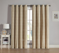 Taupe Grommet Window Curtain 2 Pc Set: White Swirl Design Embroidery | bathroomandmore