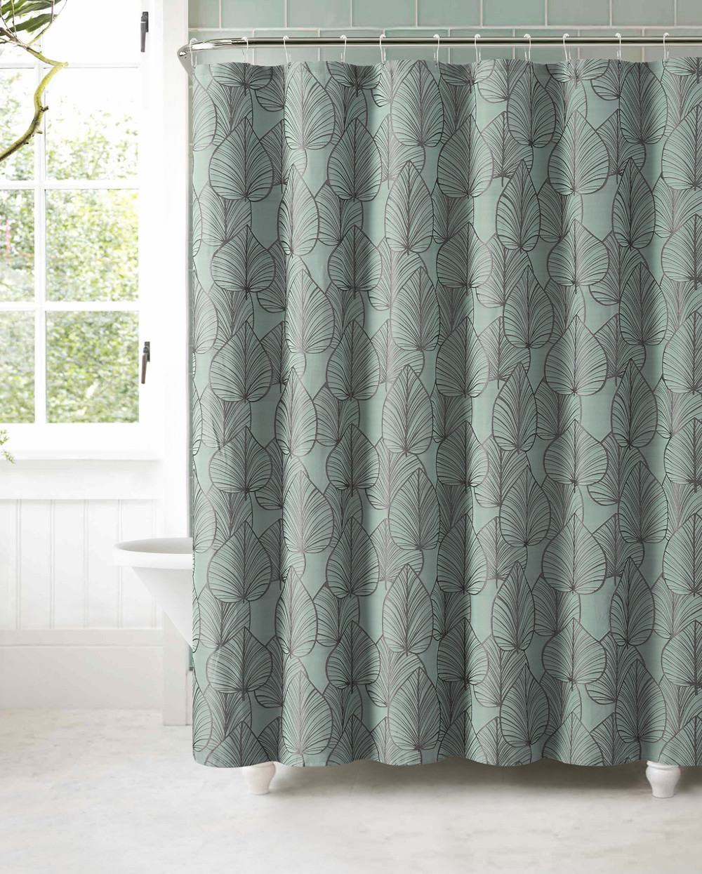 Slate Blue Jacquard Fabric Shower Curtain Gray Textured Leaf Design
