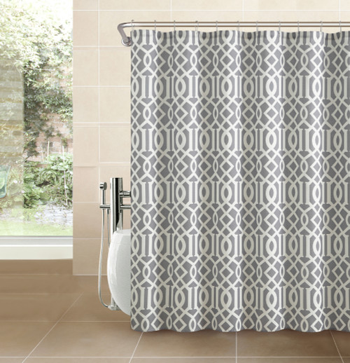 Silver Gray Fabric Shower Curtain White Imperial Trellis Geometrical Print