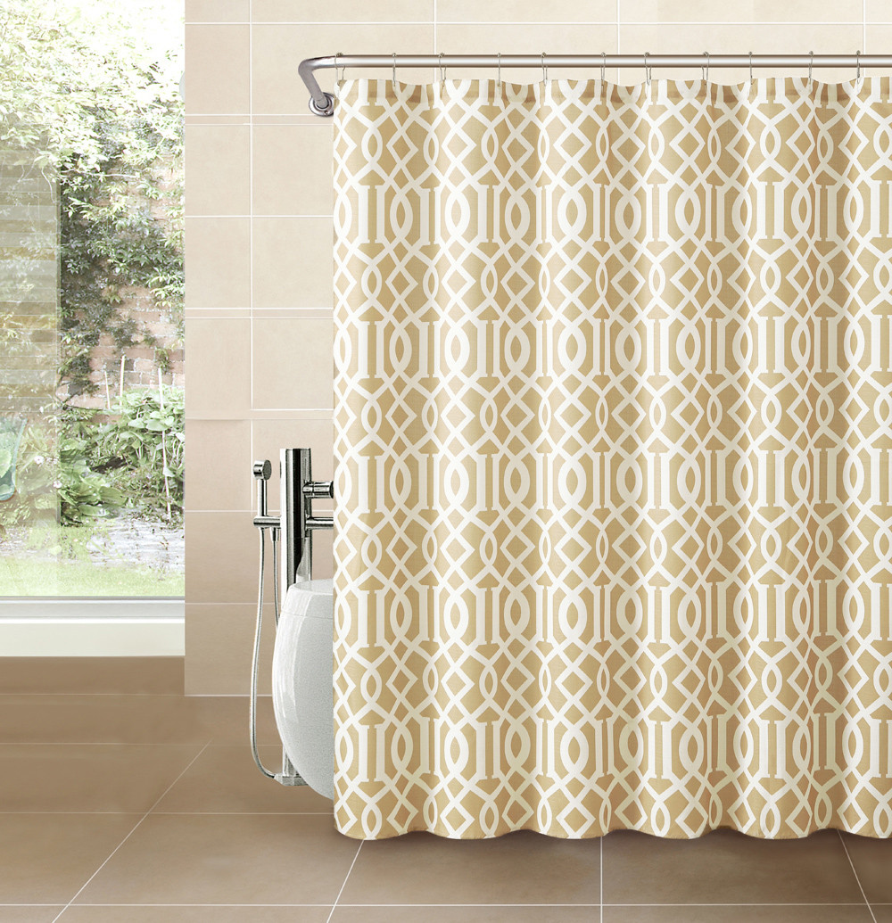 Gold Taupe Fabric Shower Curtain Imperial Trellis Design