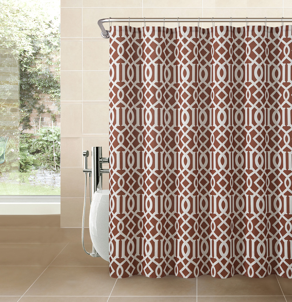 Cinnamon Rust Fabric Shower Curtain White Imperial Trellis Geometrical Print