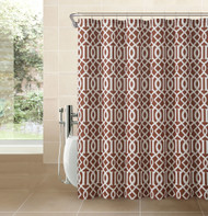 Cinnamon Rust Fabric Shower Curtain: White Imperial Trellis Geometrical Print