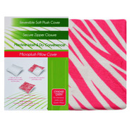 Reversible Soft Pillow Cover Case: Zippered, Hot Pink and White Zebra Design
