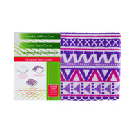 Reversible Soft Pillow Cover Case: Zippered, Purple, White, Fuschia Geometric Pattern