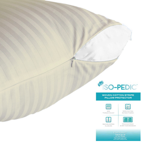 Beige Queen Striped 100% Cotton Sateen Pillow Protector.
