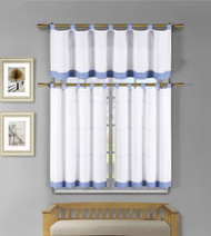 3 Pc White Kitchen Window Curtain Set: Blue Check Design, 1 Valance, 2 Tiers