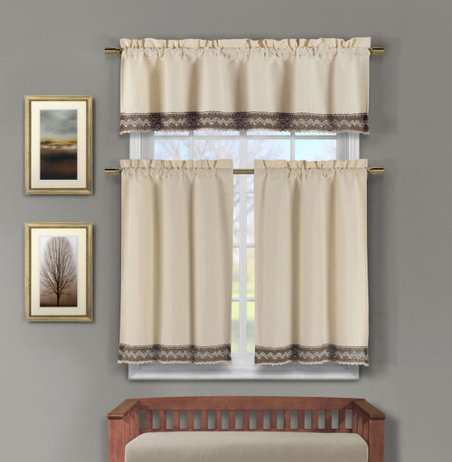 3 Piece Faux Linen Kitchen Window Curtains: Chocolate Brown Crocheted Lace Border | Bathroom and More