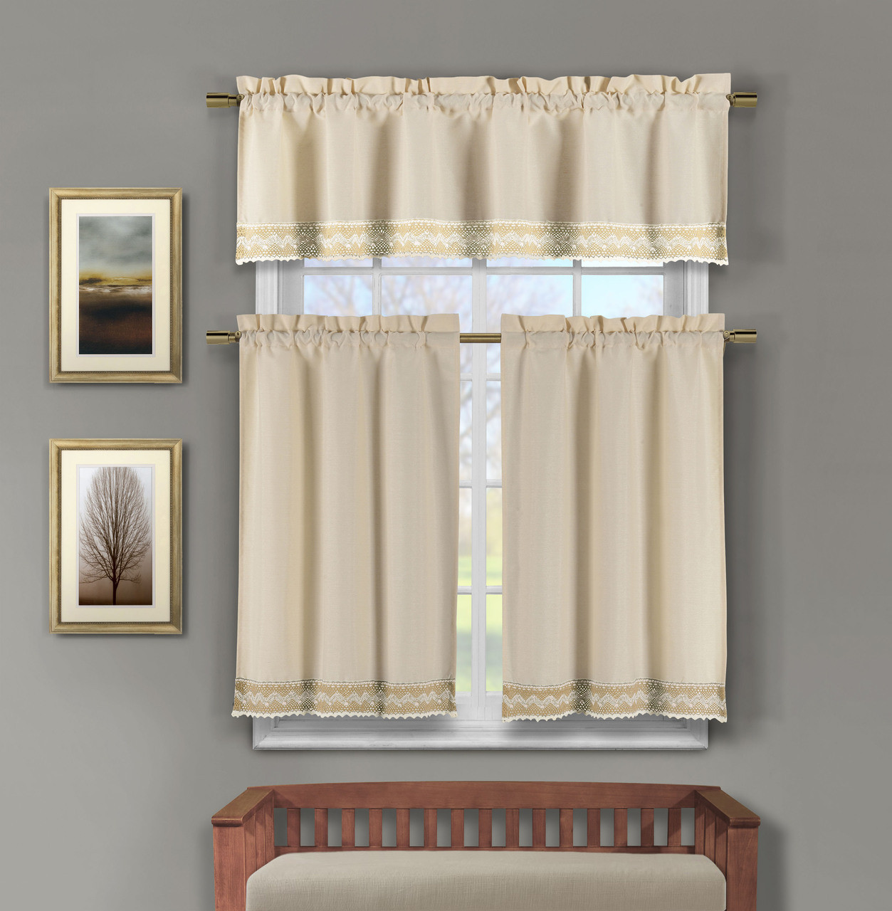 3 Pc Linen Kitchen Window Curtain Set Crochet Taupe And Linen Accent Free Hanger