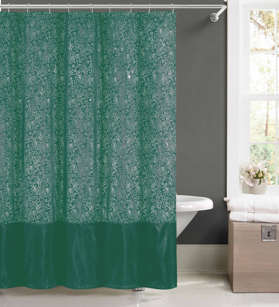 Teal Fabric Shower Curtain With Metallic Silver Raised Pin Dots