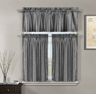 3 Piece Gray Faux Silk Kitchen Window Curtain Set: Metallic Silver Raised Floral Design