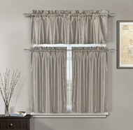 3 Piece Silver Taupe Faux Silk Kitchen Window Curtain Set: Metallic Silver Raised Floral Design